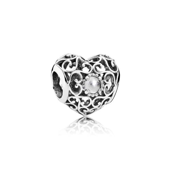Pandora April Signature Heart Birthstone Charm SVS Fine Jewelry Oceanside, NY