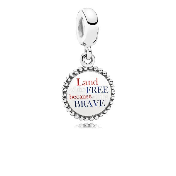 Pandora Land of the Free Because of the Brave Dangle Charm, Red, White, & Blue Enamel SVS Fine Jewelry Oceanside, NY