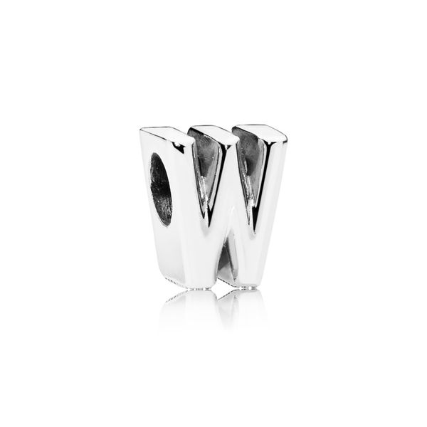 Letter W charm in sterling silver with heart pattern SVS Fine Jewelry Oceanside, NY
