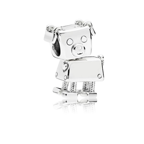 Robot dog charm in sterling silver with white enamel SVS Fine Jewelry Oceanside, NY
