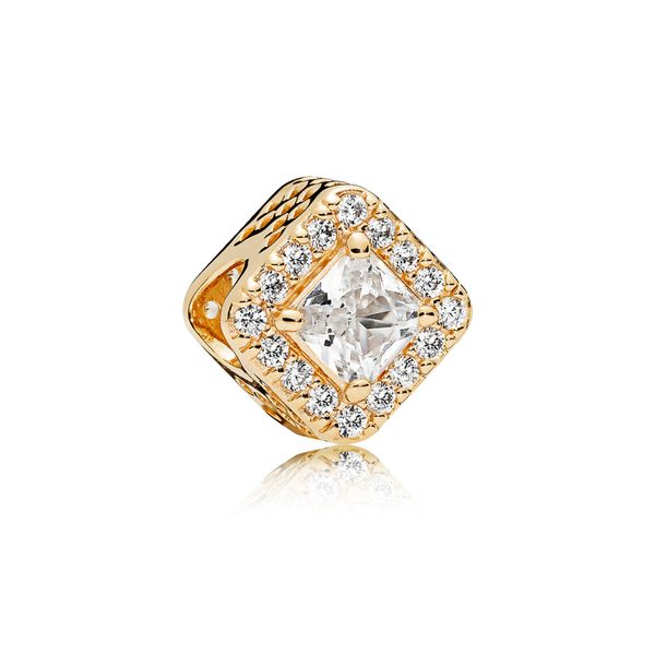 Charm in 14k gold with clear CZ SVS Fine Jewelry Oceanside, NY