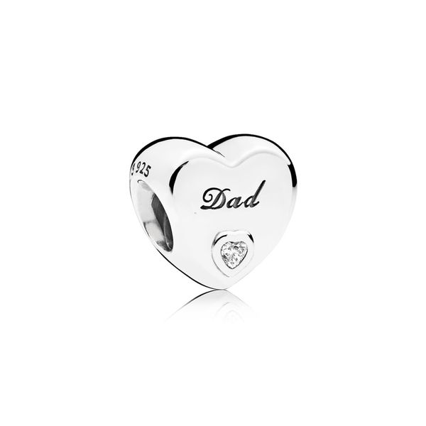 Heart charm in sterling silver with clear CZ and engraving