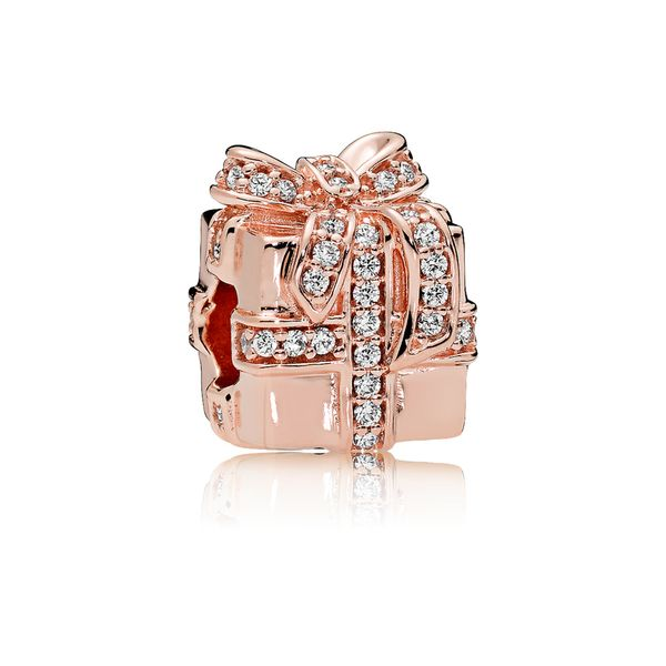 Gift charm in Rose with clear CZ and clear CZ in bow detail SVS Fine Jewelry Oceanside, NY