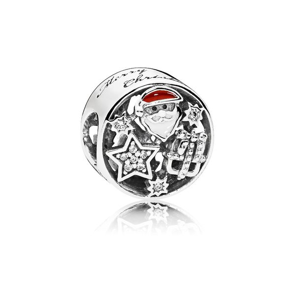 Santa, star and gift charm with clear CZ, white, berry red enamel and engraving SVS Fine Jewelry Oceanside, NY