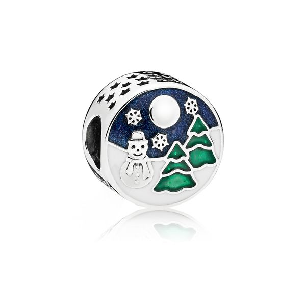 Winter scenery charm in sterling silver with white, shimmering blue and glittering green enamel SVS Fine Jewelry Oceanside, NY