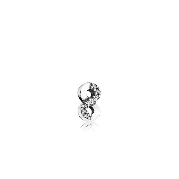 Infinity element in sterling silver with 8 micro bead-set clear CZ SVS Fine Jewelry Oceanside, NY