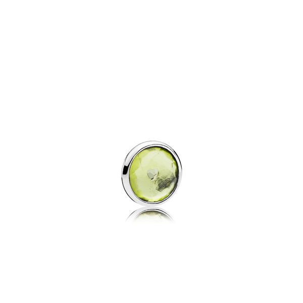 August petite element in SS with 1 bezel-set flower dome-cut peridot SVS Fine Jewelry Oceanside, NY