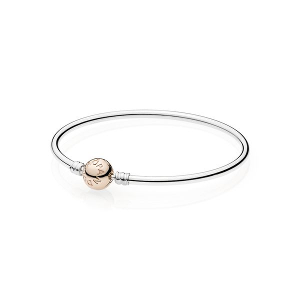 Pandora Icons Collection Rose Gold Plated Silver Bangle SVS Fine Jewelry Oceanside, NY