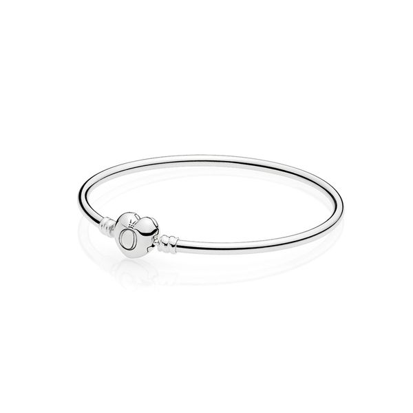 Pandora Icons Collection Sterling Silver Heart Clasp Bangle Image 2 SVS Fine Jewelry Oceanside, NY