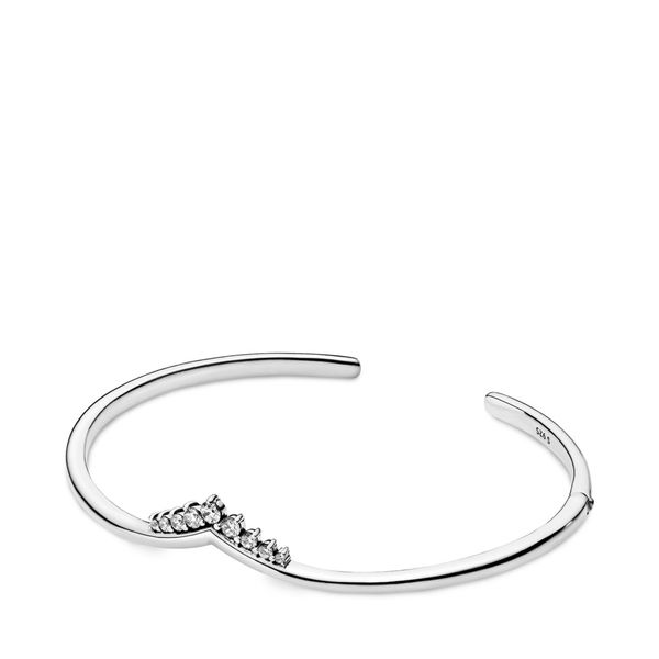 Pandora Wish Collection Sterling Silver Tiara Open Bangle Image 2 SVS Fine Jewelry Oceanside, NY