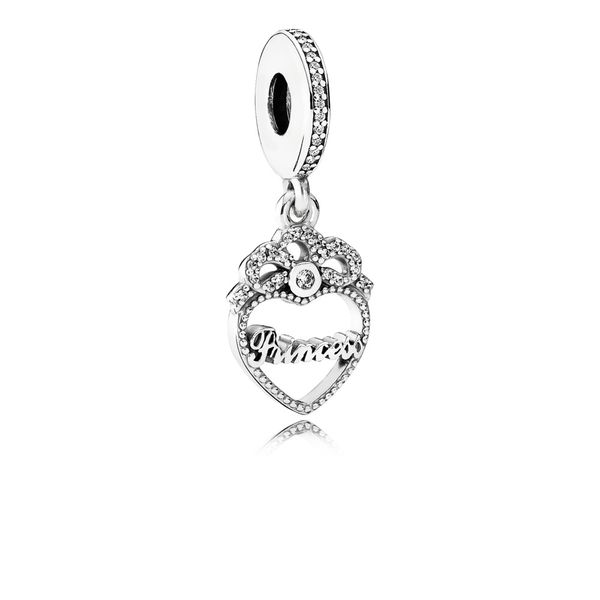 Dangle Princess Crown Heart with Clear CZ SVS Fine Jewelry Oceanside, NY