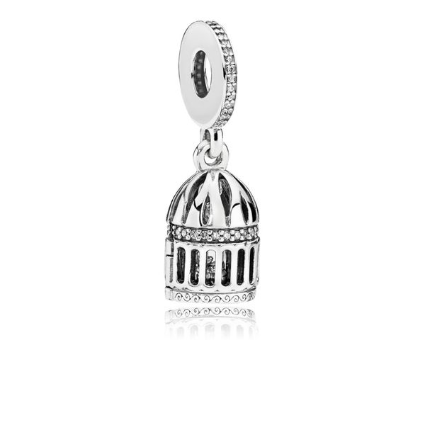 Birdcage openable dangle in sterling silver with 51 micro bead-set clear CZ SVS Fine Jewelry Oceanside, NY