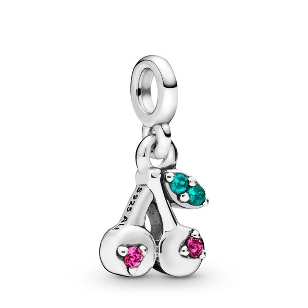 Cherries sterling silver dangle charm with cerise and aqua green crystal SVS Fine Jewelry Oceanside, NY