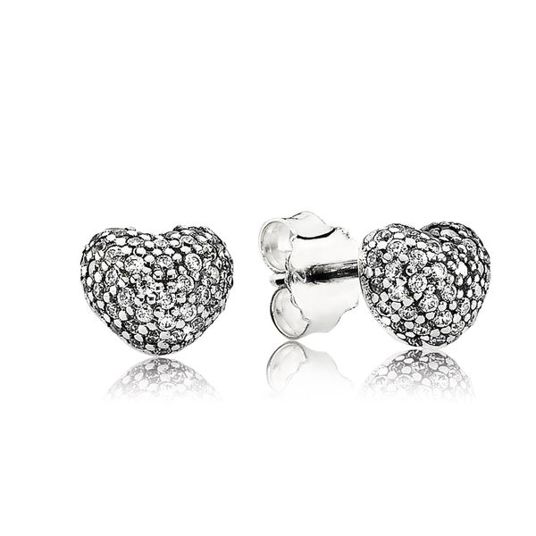 Pandora Signature Collection Sterling Silver Heart Earrings SVS Fine Jewelry Oceanside, NY