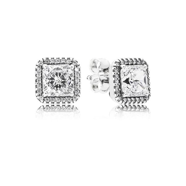 Pandora Timeless Collection Sterling Silver Square Earrings SVS Fine Jewelry Oceanside, NY