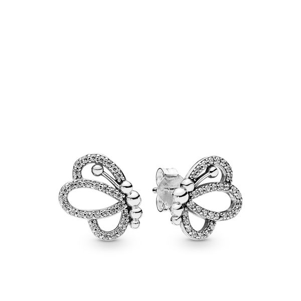 Pandora Garden Collection Sterling Silver Butterfly Earrings SVS Fine Jewelry Oceanside, NY