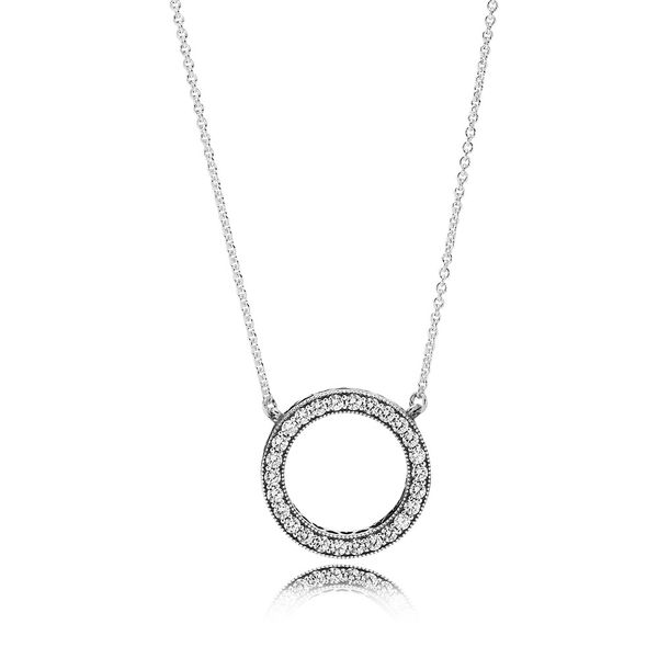 Pandora Signature Collection Sterling Silver Circle Necklace SVS Fine Jewelry Oceanside, NY