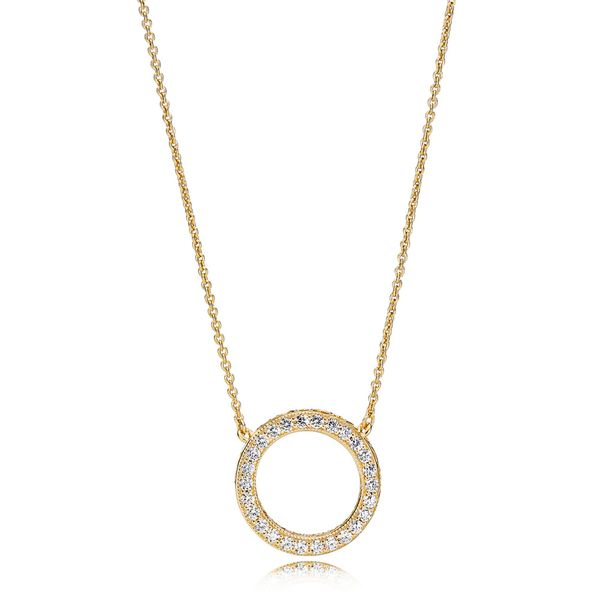 Pandora Signature Collection Gold Plated Silver Necklace SVS Fine Jewelry Oceanside, NY