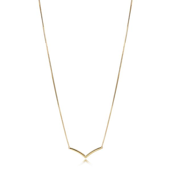 Pandora Wish Collection Yellow Gold Plated Silver Necklace SVS Fine Jewelry Oceanside, NY
