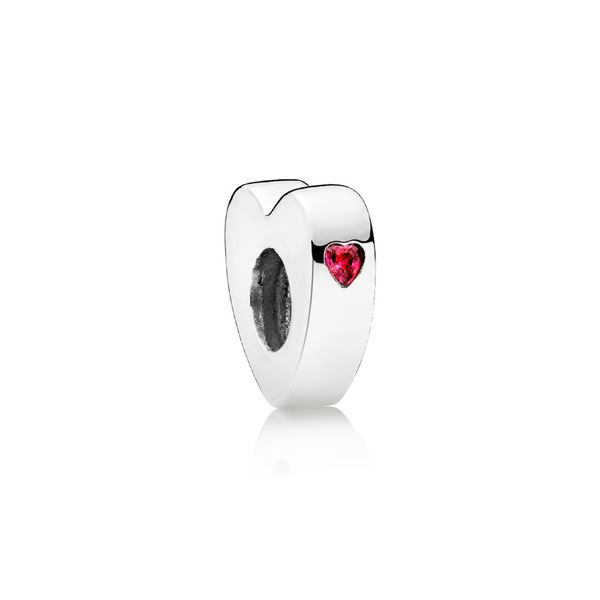 Heart-shaped silver spacer with red CZ SVS Fine Jewelry Oceanside, NY