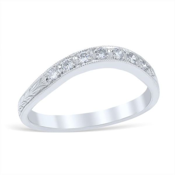 Platinum Engraved Diamond Wedding Band With 7 Round Diamonds .14Tw  G Vs2 Size 7 Swede's Jewelers East Windsor, CT