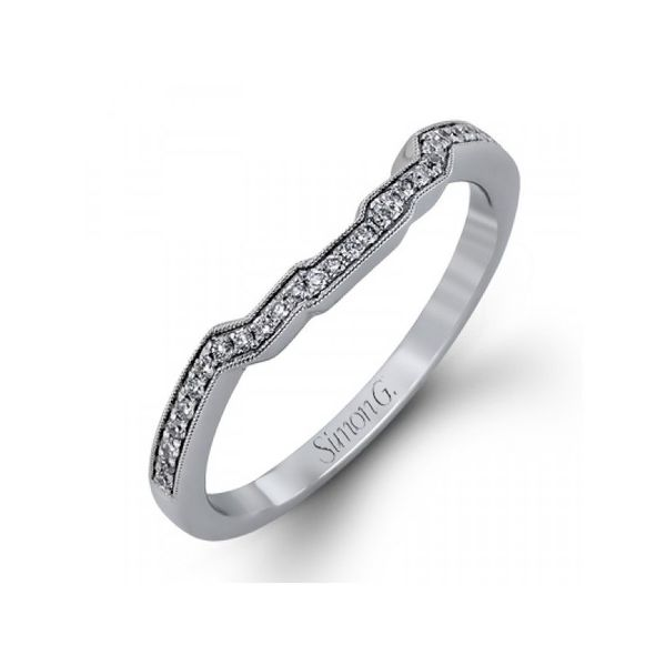 Simon G18k White Gold Curved Diamond Wedding Band With 29 Round Diamonds .11Tw Size 6.5 Swede's Jewelers East Windsor, CT