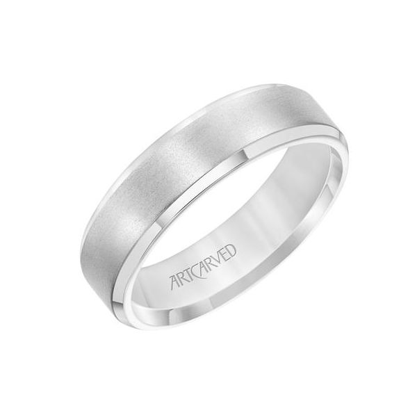 14k White Gold Brushed Finish  Comfort Fit Wedding Band size 10 Swede's Jewelers East Windsor, CT