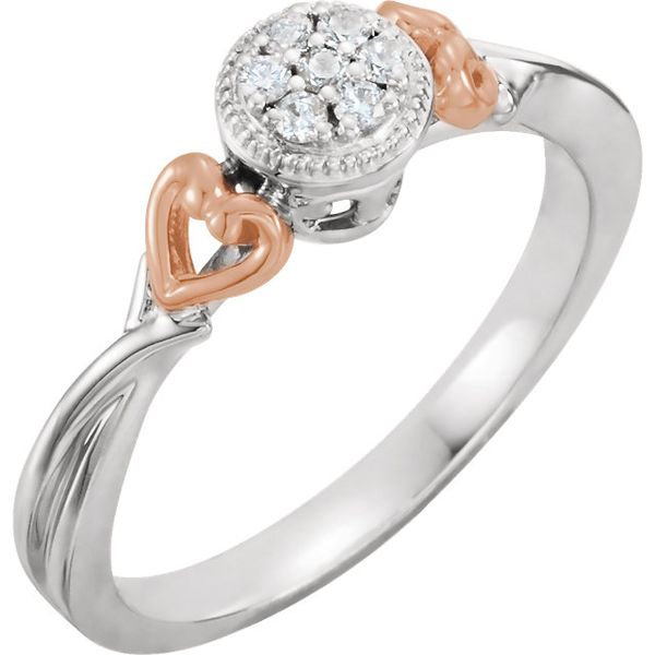 10K White & Rose Gold Promise Ring with .10tw Diamonds Ring Swede's Jewelers East Windsor, CT