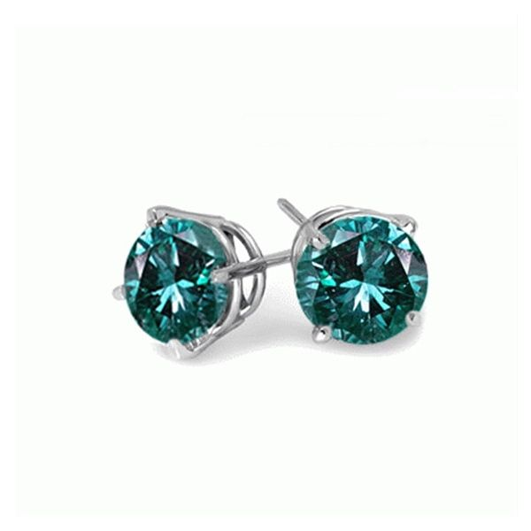 14k White Gold 4 Prong set .66tw Round Blue Diamond Stud Earrings Swede's Jewelers East Windsor, CT