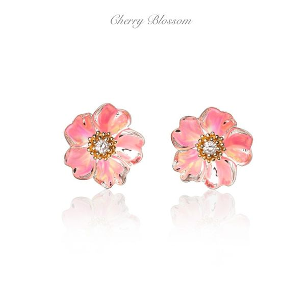 Galatea Cherry Blossom Sterling Silver/14K  .06cttw Diamond Earrings with Opal Illusions Swede's Jewelers East Windsor, CT