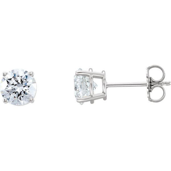 14k White Gold 1.00ct tw round Lab-Grown Diamond studs (GCAL Cert# J1068209 stone # 263480023 .57ct I SI1 & #263480024 .54ct I V Swede's Jewelers East Windsor, CT