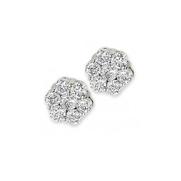Diamond Cluster Earrings. Swede's Jewelers East Windsor, CT