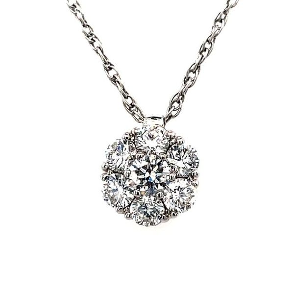 18K White Gold 1.00tw Diamond Cluster Pendant on 18