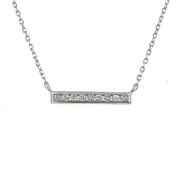14ktwg Diamond Bar Necklace.10ctw 18