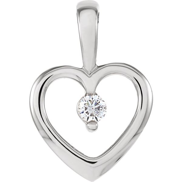 14K White Gold Open Heart with .07tw Round Diamond Pendant Swede's Jewelers East Windsor, CT