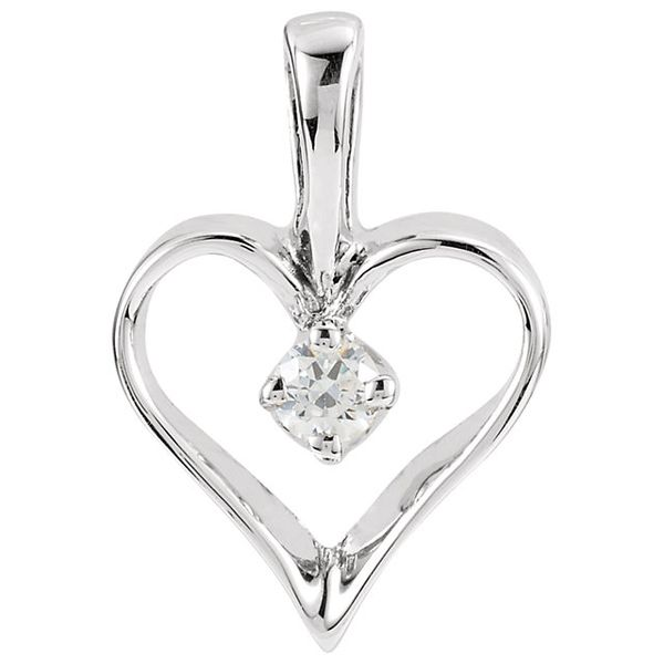 14Kt. White Gold Small Heart With .03CT. Diamond Pendant Swede's Jewelers East Windsor, CT