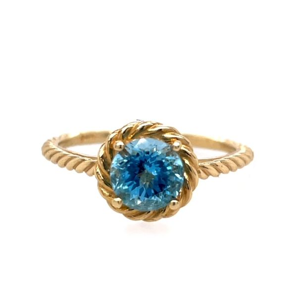 14K Yellow Gold 6mm Round Blue Topaz Ring size 7 Swede's Jewelers East Windsor, CT