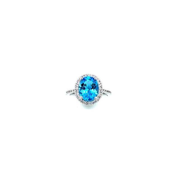 14K White Gold 10x8 Oval Blue Topaz with .125tw Diamond Diana Style Ring size 6.5 (shown in the picture with Citrine) Swede's Jewelers East Windsor, CT