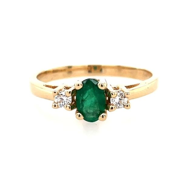14K Yellow Gold 6x4 Oval Emerald with .10tw Diamond Ring size 6.25 ( shown in picture in white gold) Swede's Jewelers East Windsor, CT