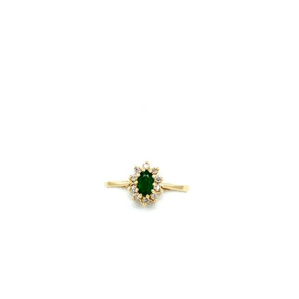 14K Yellow Gold Diana Style Ring with 5x3 Oval Emerald & .10tw Diamond size 6.5 (shown in picture in white gold) Swede's Jewelers East Windsor, CT