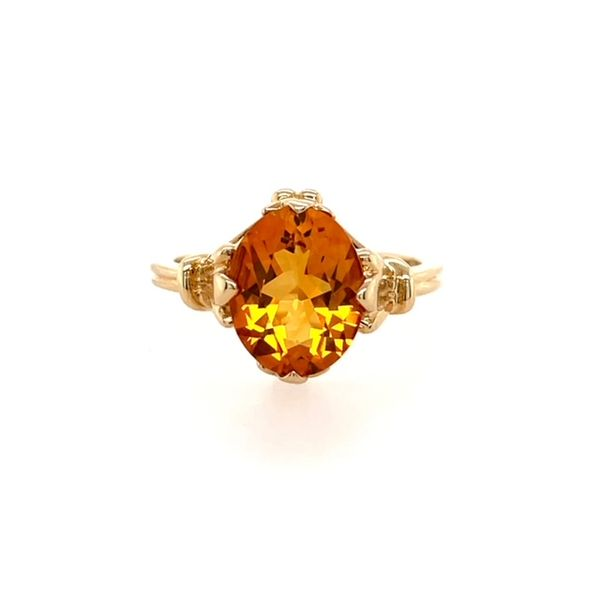14K Yellow Gold 10x8 Oval Citrine with Fleur De Lis Side Design Ring size 5.75 (shown in the picture in white gold) Swede's Jewelers East Windsor, CT