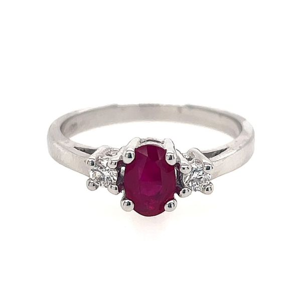 14k White Gold 6x4 Oval Ruby with .10tw Diamond Ring size 6.25 Swede's Jewelers East Windsor, CT