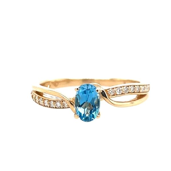 14ktyg 6x4 Oval Blue Topaz Ring with .12ctw Diamonds Size 7 Swede's Jewelers East Windsor, CT