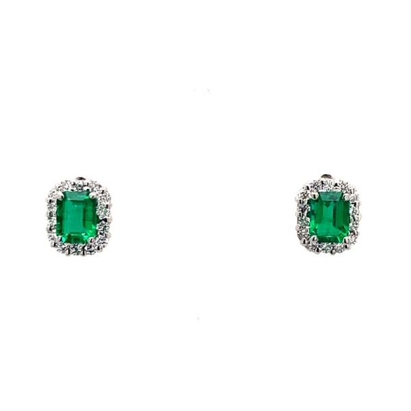 18K White Gold Emerald Cut Emeralds .70tw with 0.26 Twt Diamond Earrings Swede's Jewelers East Windsor, CT