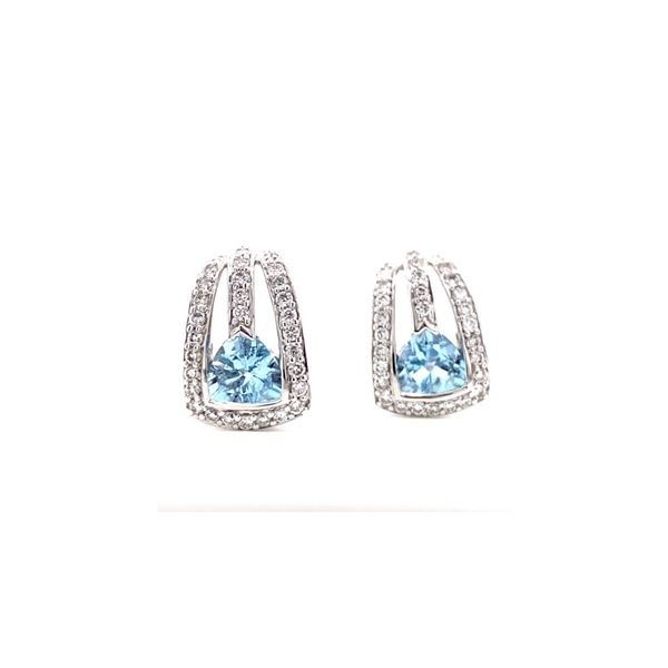 18K White Gold  6 mm Trillion Shape Aqua And 0.55 Twt Diamond Earrings Swede's Jewelers East Windsor, CT