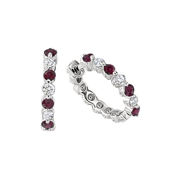 14K Whhite Gold Small Hoops with 8) 2mm Round Rubies & 6) .18tw Diamond Earrings Swede's Jewelers East Windsor, CT