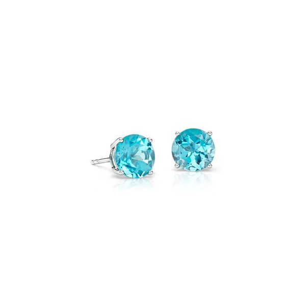 14K White Gold 4.2Mm Round Blue Topaz Stud Earrings Swede's Jewelers East Windsor, CT