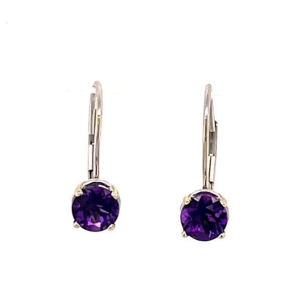 14k White Gold 5mm (1.18Ct Tw) Amethyst Lever Back Earrings Swede's Jewelers East Windsor, CT