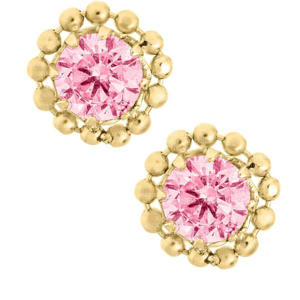 14K Yellow Gold Pink CZ Stud Earrings Swede's Jewelers East Windsor, CT