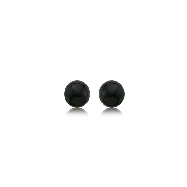 14K Yellow Gold 7mm Onyx Stud Earrings Swede's Jewelers East Windsor, CT